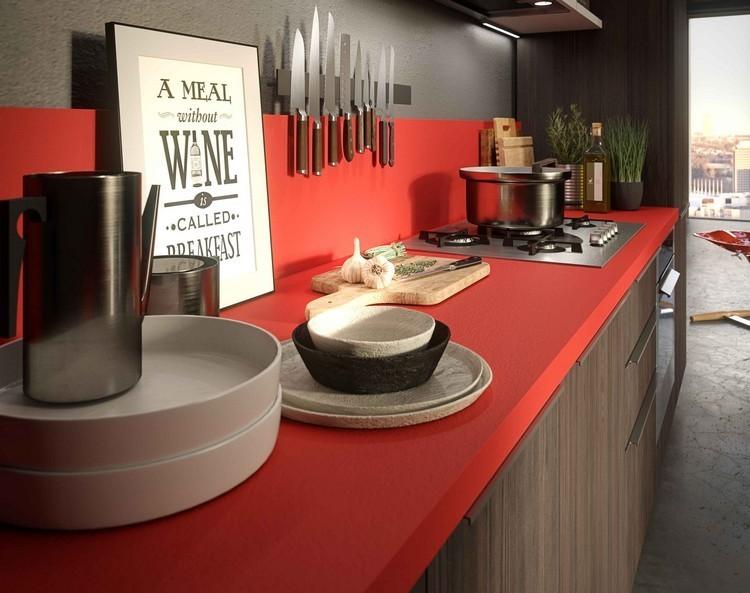 cocina-diseño-rojo-madera