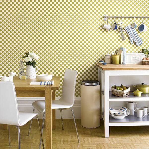 papel-pintado-lunares-en-la-cocina